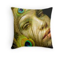 Lady Peacock Throw Pillow