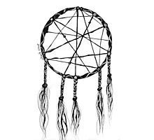 Dream Catcher, Black and White Doodle, Pen and Ink Photographic Print