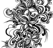Flowers, Black and White Doodle, Pen and Ink by Danielle J. Scott (Smith)