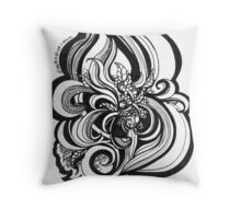 Black and White Doodle, Pen and Ink Throw Pillow