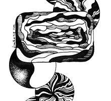 Black and White Doodle, Pen and Ink, Abstract by Danielle J. Scott (Smith)
