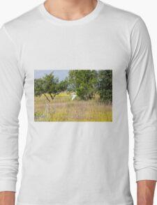 Snowy Egret Over Marsh Long Sleeve T-Shirt