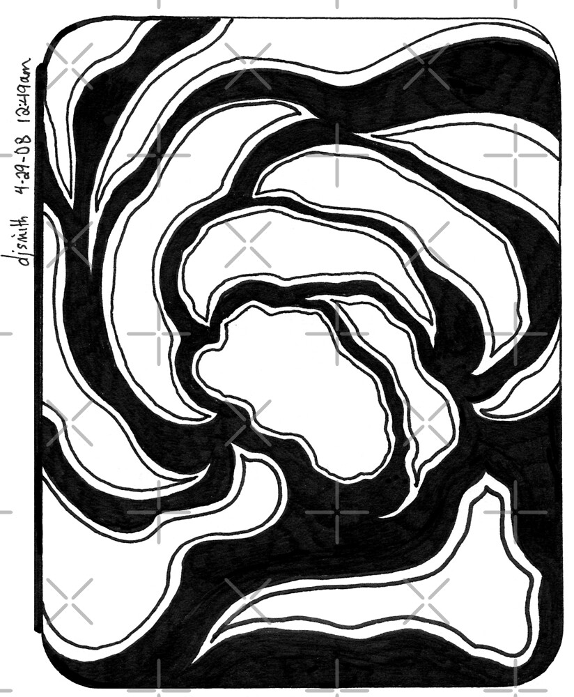 Abstract, Black and White Doodle, Pen and Ink by Danielle Scott