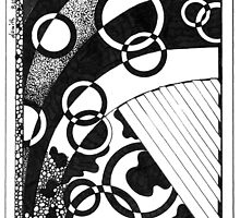 Abstract, Black and White Doodle, Pen and Ink by Danielle J. Scott (Smith)
