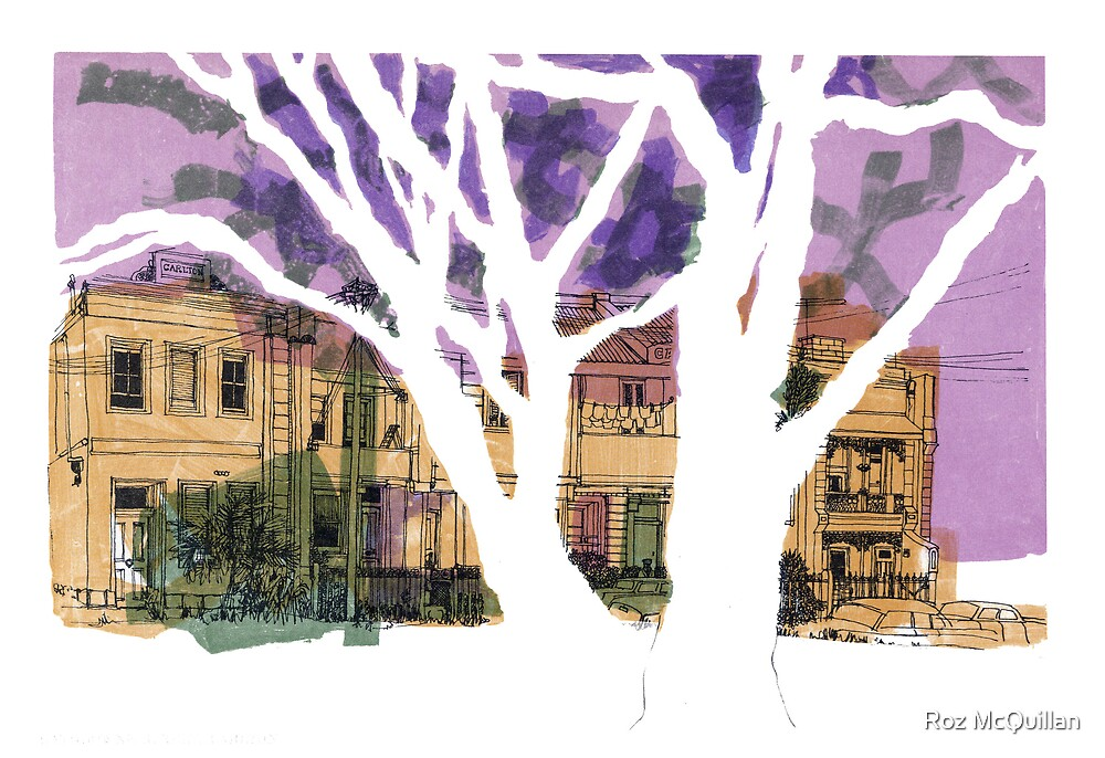 Drawing : Rathdowne Street, Melbourne by Roz McQuillan