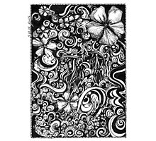 Abstract, Black and White Doodle, Pen and Ink Photographic Print