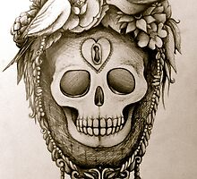 ornate skull with bird nest by melaniedann