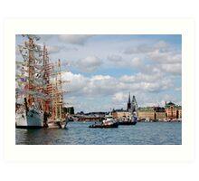 Tall Ship in harbor Art Print