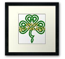 Erin Go Bragh - knotwork shamrock - green Framed Print