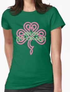 Erin Go Bragh - knotwork shamrock - pink Womens Fitted T-Shirt