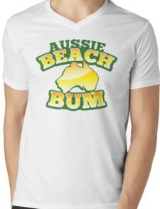 Aussie Beach Bum cute Australian design with map of Australia Mens V-Neck T-Shirt