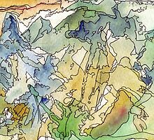 Abstract Watercolor Mountains in Green, Blue, Orange by Ela Steel