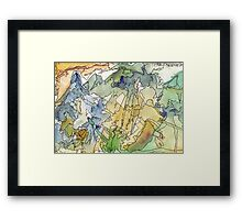 Abstract Watercolor Mountains in Green, Blue, Orange Framed Print
