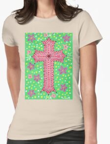 Springtime Floral Cross, Easter Cross Womens Fitted T-Shirt