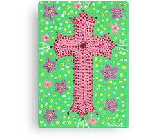 Springtime Floral Cross, Easter Cross Canvas Print