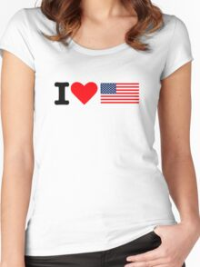 I love United States flag Women's Fitted Scoop T-Shirt