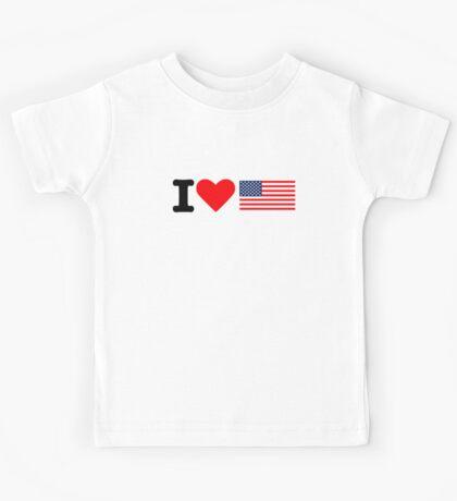 I love United States flag Kids Tee