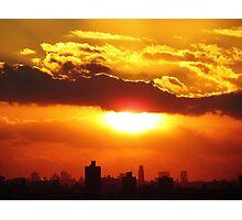 Winter sunset over New York City  Photographic Print