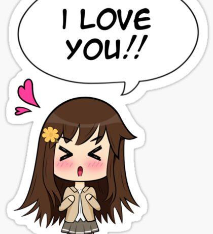 Chibi Anime Girl says I Love You!! Sticker