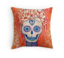oriental sugar skull Throw Pillow