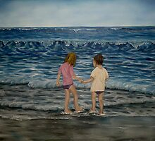 """""""Beach Kids"""" - Oil Painting by Avril Brand"""