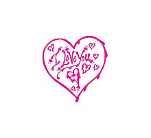 I Love You Pink Valentine Heart 12 by Heatherian