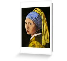 """Pearl Earring with Girl Attached"" - oil painting (inspired by Vermeer) Greeting Card"