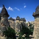 Fairy chimneys in eroded badlands  by cascoly