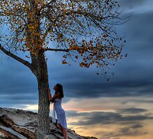 Girl and Tree at Sunset by EricD