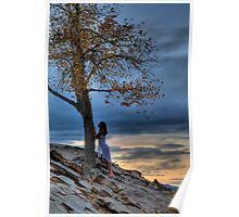 Girl and Tree at Sunset Poster