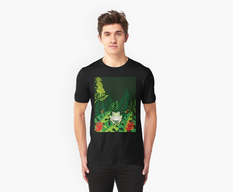 Green Tree Frog T-Shirt by Lesley Smitheringale