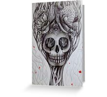 head space skull tattoo style art Greeting Card
