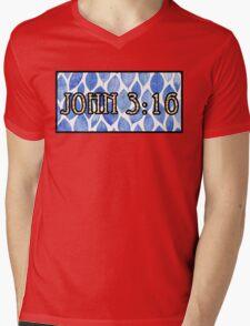 John 3:16 Bold Blue Mens V-Neck T-Shirt