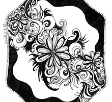 Flowers, Abstract Doodle, Pen and Ink, Black and White by Danielle J. Scott (Smith)