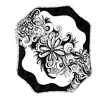 Flowers, Abstract Doodle, Pen and Ink, Black and White Photographic Print