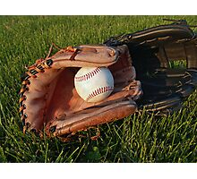 Baseball Gloves After Practice Photographic Print