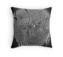 Antique John Deere Tractor Seat Farm Scene Black and White High Contrast Throw Pillow