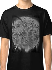 Antique John Deere Tractor Seat Farm Scene Black and White High Contrast Classic T-Shirt
