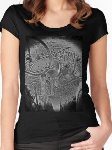 Antique John Deere Tractor Seat Farm Scene Black and White High Contrast Women's Fitted Scoop T-Shirt