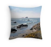 Fog Rolling Coastal Throw Pillow