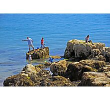 Fishing from the Rocks, Seaview Photographic Print