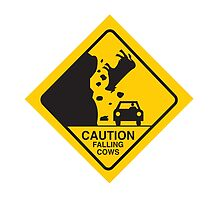 Caution Falling Cows by BakmannArt