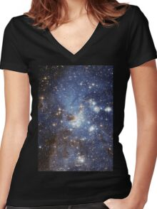 Blue Galaxy Women's Fitted V-Neck T-Shirt