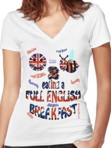 Happy 2 bee eating a full english Breakfast Women's Fitted V-Neck T-Shirt