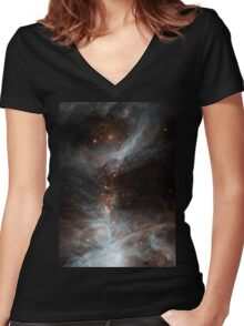 Black Galaxy Women's Fitted V-Neck T-Shirt