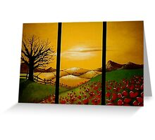 Yellow Sunset over Poppy Field Greeting Card