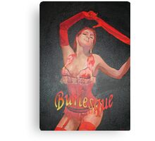 Burlesque Dancer Wearing Vintage Red Corset and Gloves Canvas Print