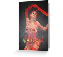 Burlesque Dancer Wearing Vintage Red Corset and Gloves Greeting Card