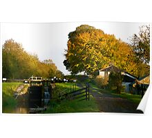 Autumn Canal Cottage, Ireland Poster