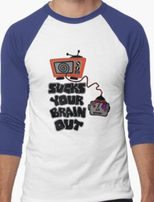 t.v. sucks your brain out mallowcolor Men's Baseball ¾ T-Shirt